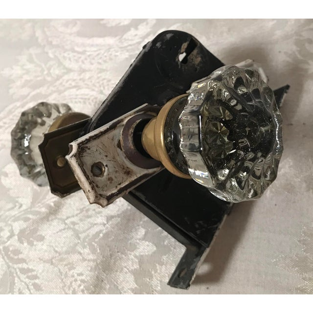 Metal Glass Doorknobs With Hardware and Locks - a Pair For Sale - Image 7 of 10