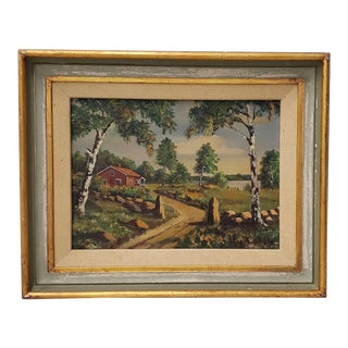 """Fine Vintage Oil Painting """"Country Road"""" C.1950s For Sale"""
