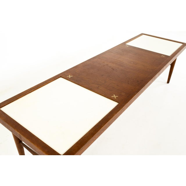 Merton L. Gershun Merton Gershun for American of Martinsville Mid Century X Inlaid Walnut and White Laminate Coffee Table For Sale - Image 4 of 12