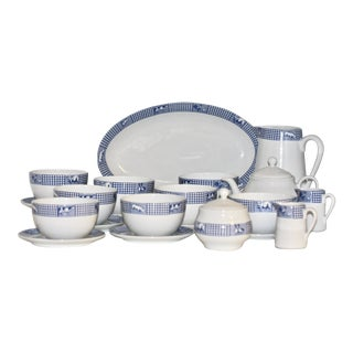 French Porcelain Breakfast Set By Jacques Coeur - 24 Pieces For Sale