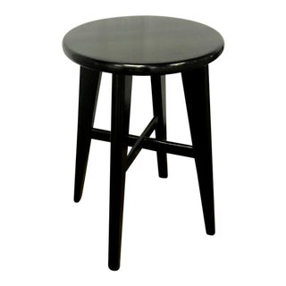 Nice Mid Century Set of 4 Small French Black Stools For Sale