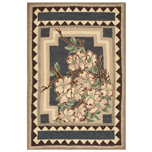 """Antique American Hooked Rug 2'9"""" X 4'2"""" For Sale - Image 4 of 4"""
