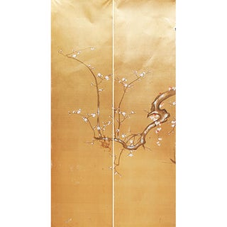 1960s Japanese Large Gold Silk Panels - Set of 2