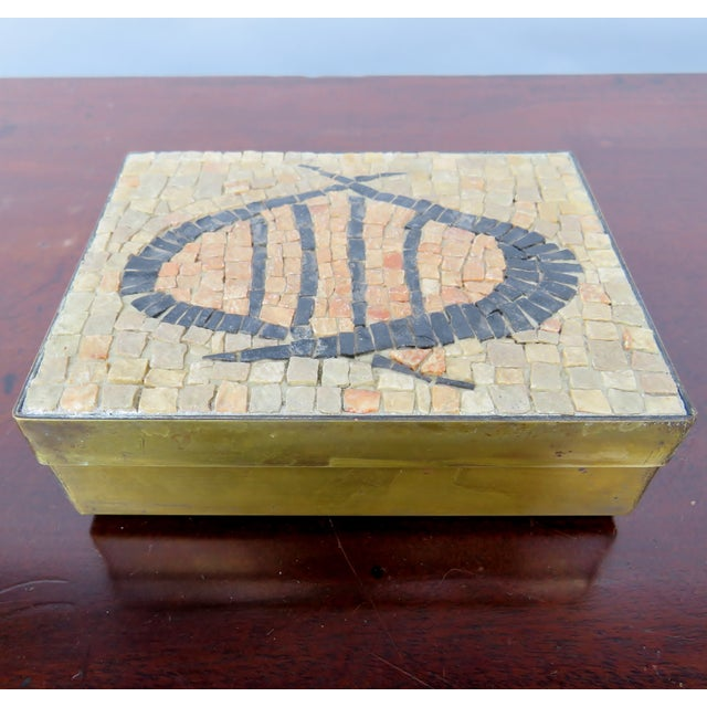 Vintage Brass & Mosaic Stone Box For Sale In Los Angeles - Image 6 of 6