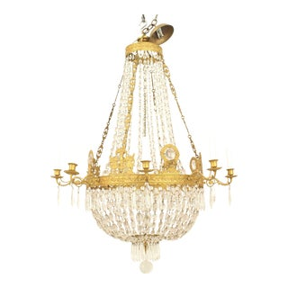 French Empire 'Circa 1810' Gilt Bronze and Cut-Glass Chandelier For Sale