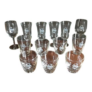 """Collection of Thirteen """"S"""" Monogrammed Glasses - Set of 13"""