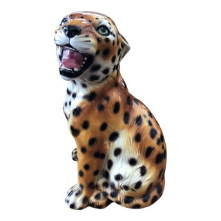 1960s Italian Ceramic Baby Leopard Statue For Sale