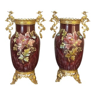 19th Century French Barbotine Vases With Bronze Mounts - a Pair For Sale