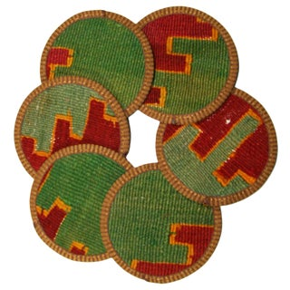 Rug & Relic Kilim Coasters Hazar - Set of 6 For Sale