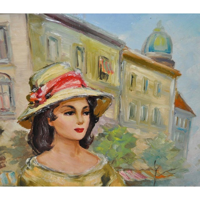 Mid-Century Modern American Woman in Europe Oil Painting c.1950s For Sale - Image 3 of 9