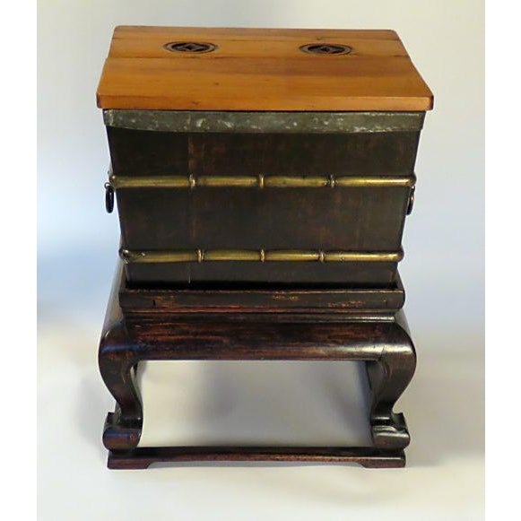 1900s Chinese Faux Bamboo Ice Chest on Stand For Sale - Image 4 of 7