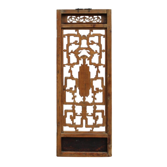 Chinese Vintage Light Brown Relief Motif Wood Wall Hanging Art For Sale - Image 4 of 11