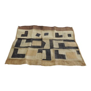 Vintage Yellow and Black Earth Tones African Applique Kuba Textile Fragment For Sale