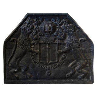 19th Century Cast Iron English Fireback For Sale