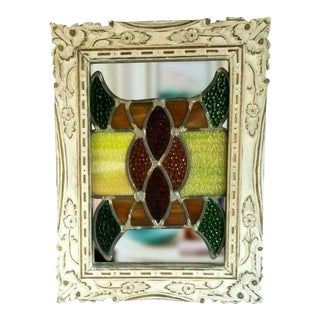 "Antique Stained Leaded Glass Window Carved Colorful Handcrafted Wood Frame 15"" X 17"" For Sale"