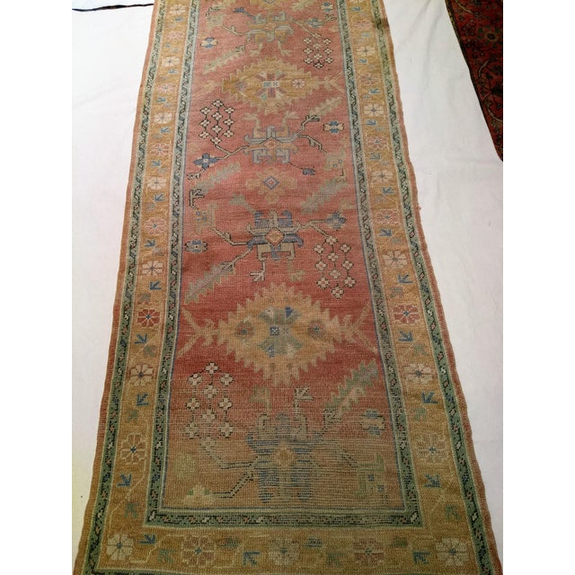 """Textile Late 1800s Turkish Oushak Runner- 3' 5"""" X 14' 5"""" For Sale - Image 7 of 13"""