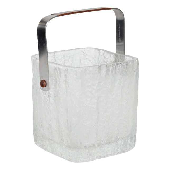 Vintage Ice Bucket With Textured Ice Cube Glass Design For Sale