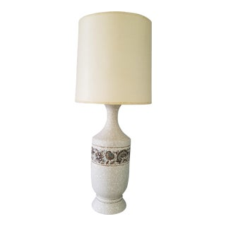 1950s Mid Century Eames Era Decorative Stoneware Lamp With Shade For Sale
