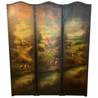 English Leather Hunting Scene Three Panel Screen For Sale
