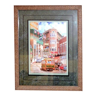 "1993 ""Street Scene"" Framed and Matted Color Print Signed Johnny Ray For Sale"