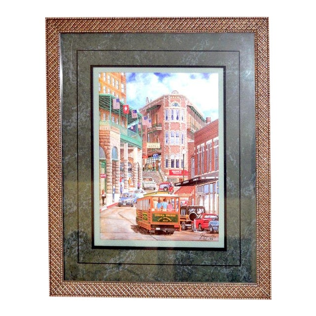"""1993 """"Street Scene"""" Framed and Matted Color Print Signed Johnny Ray For Sale"""