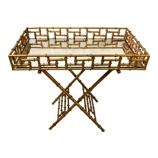 Gilt Metal Faux Bamboo Butler's Tray Table