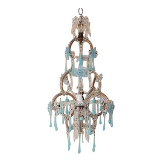 Aqua Blue Opaline Flowers and Drops Murano Glass Chandelier, circa 1930 For Sale