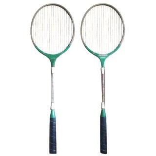 Vintage Wood & Metal Badminton Rackets - A Pair