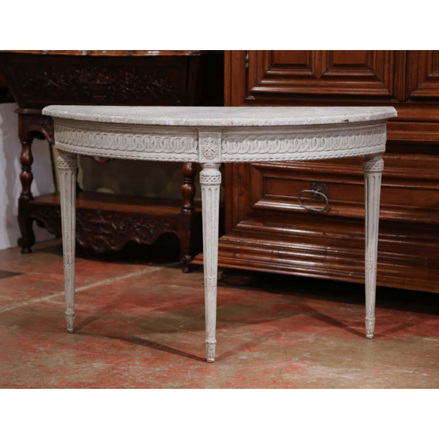 Louis XVI Pair of 19th Century Louis XVI Carved Painted Demi-Lune Console Tables For Sale - Image 3 of 9
