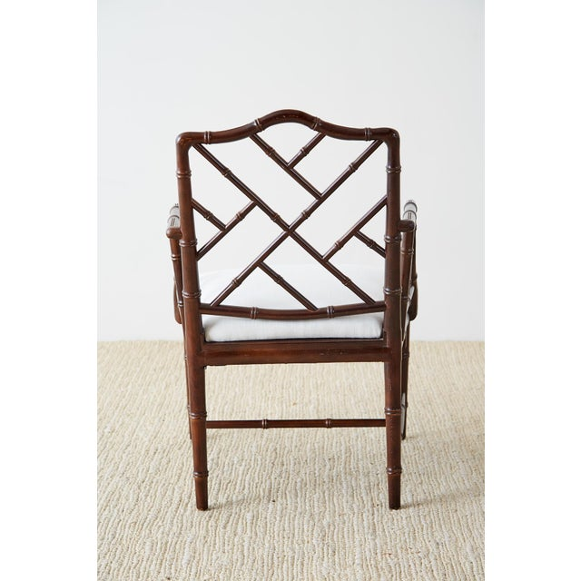 Chinese Chippendale Chocolate Lacquered Faux Bamboo Dining Chairs For Sale - Image 11 of 13