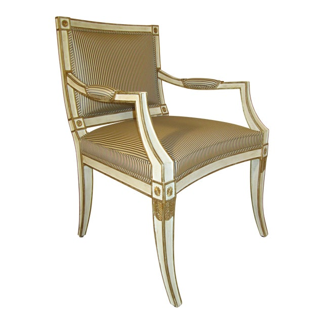 Neoclassical Armchair in Striped Silk For Sale