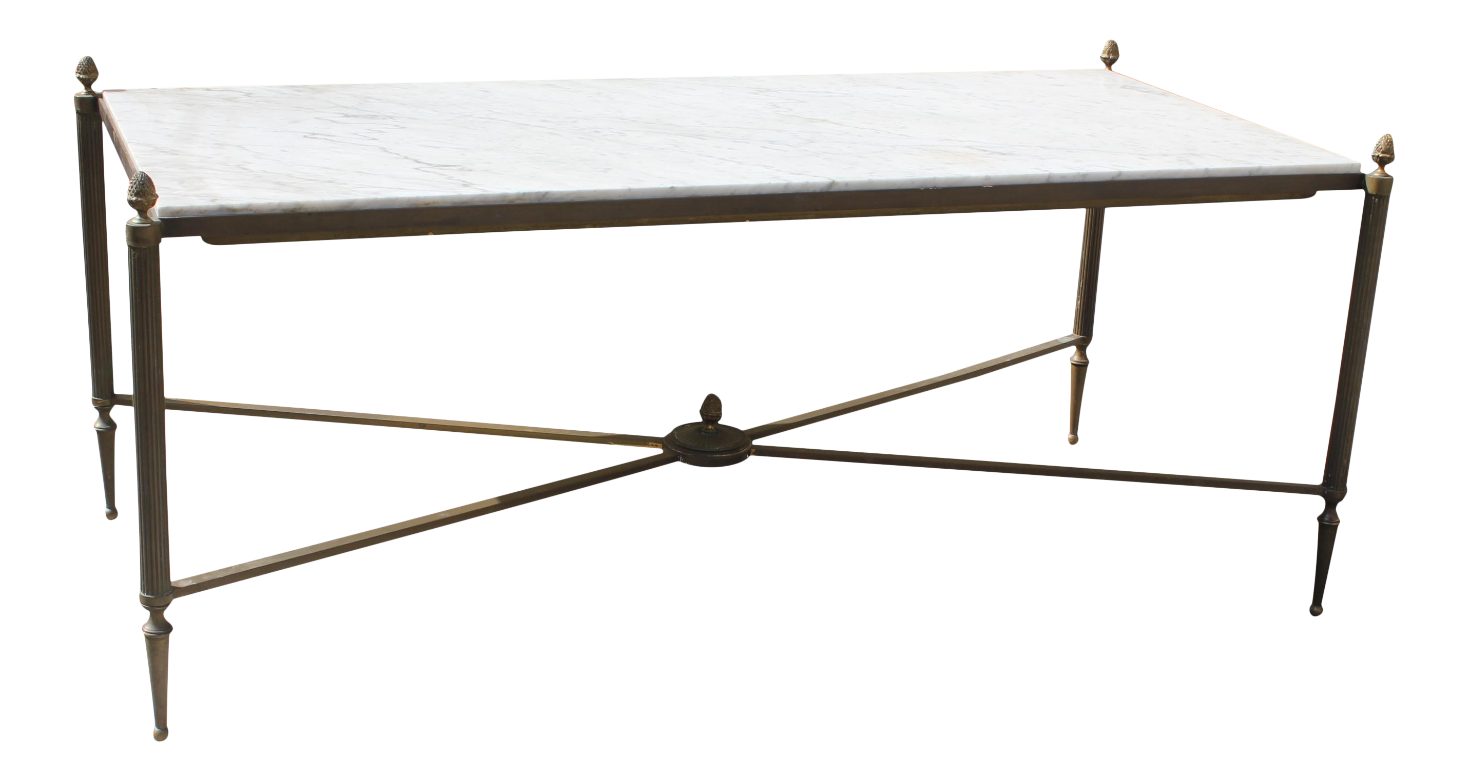 Delightful Long Maison Jansen Coffee Or Cocktail Table Bronze Rectangular With Marble  Top Circa 1940s   Image