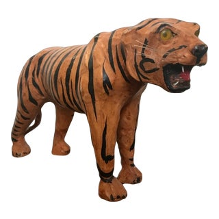Vintage Big Cat Mid Century Modern Leather Artist Tiger Statue Home Office Decor For Sale