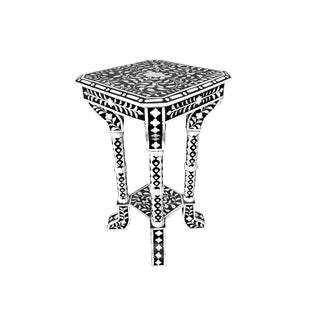 Floral Pattern Bone Inlay Accent Table For Sale