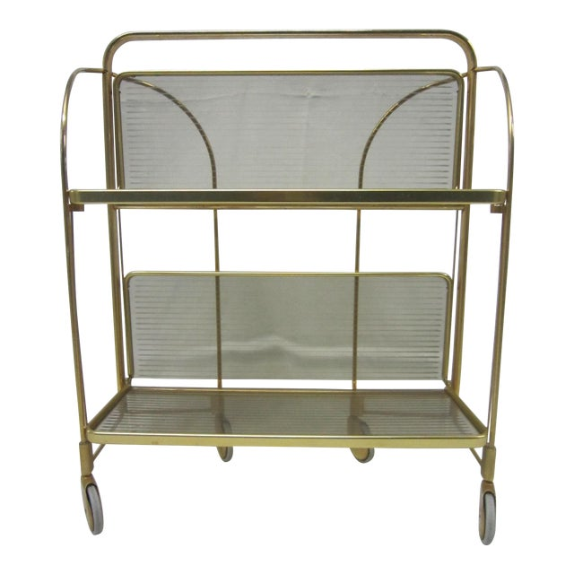 Gold Tone Folding Bar Cart - Image 1 of 5