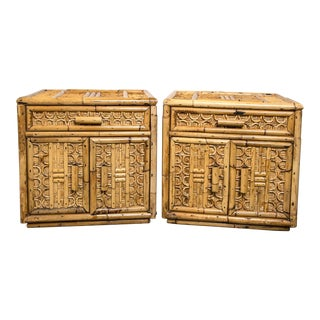 Mid-Century Bamboo and Rattan Side Tables - a Pair For Sale