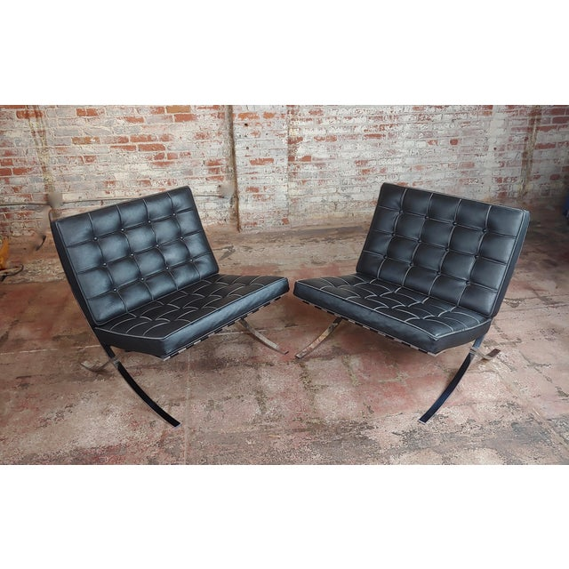 Americana Barcelona Chairs -Beautiful Vintage Black Leather Seats -A Pair For Sale - Image 3 of 11
