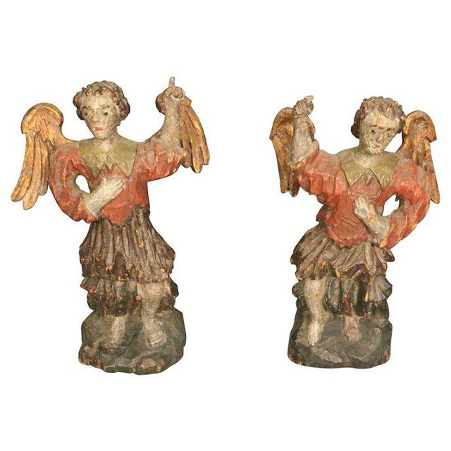 Carved Wood Angels Pair