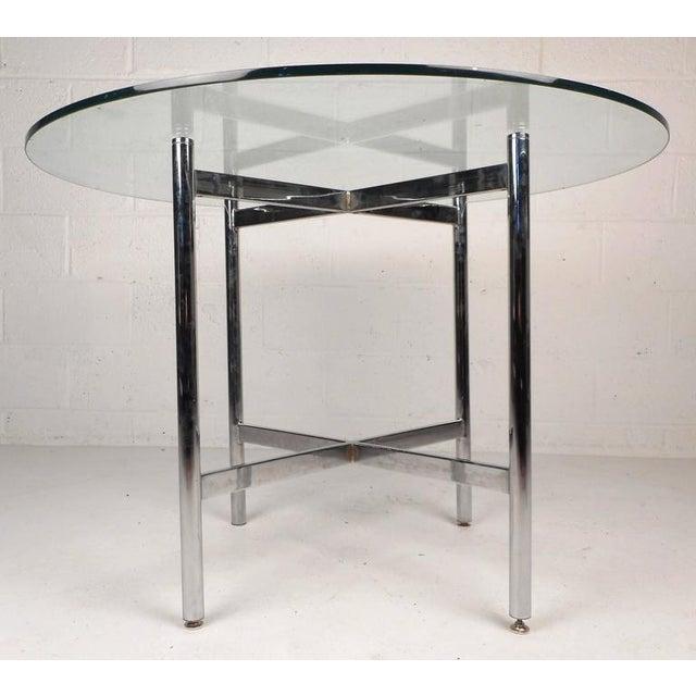 Mid-Century Modern Mid-Century Modern Chrome X-Base Dining Set For Sale - Image 3 of 10