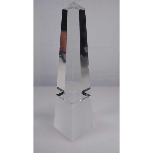 Beveled Crystal Glass Obelisk Paperweight - Image 2 of 5