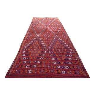 1970s Vintage Turkish Kilim Cicim Rug - 5′6″ × 13′ For Sale
