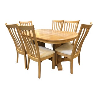 Scandinavian Designs Transitional Maple Dining Set - Set of 7