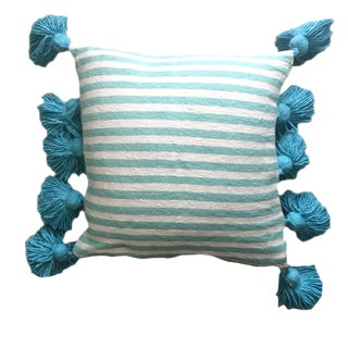 Blue Striped Pompom Pillow Cover For Sale