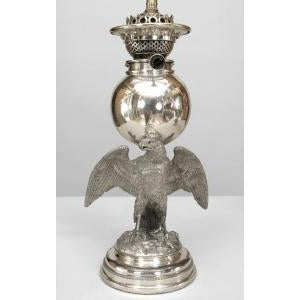 American 19th Century American Victorian style silver plate eagle base oil lamps- A Pair For Sale - Image 3 of 5