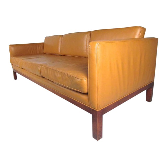 Scandinavian Modern Leather Sofa After Børge Mogensen For Sale