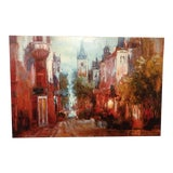 Image of Post Impressionist European Cityscape Embellished Giclee Print For Sale