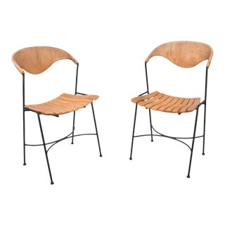 Arthur Umanoff Wood Slat Wrought Iron Dining Chairs 1950s - a Pair For Sale