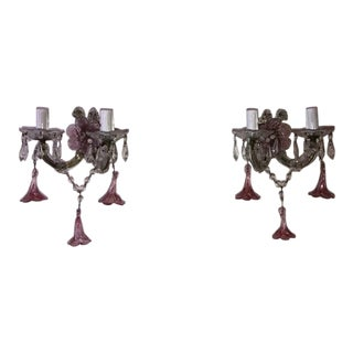 1920 French Fuchsia Murano Flowers and Crystal Prisms Sconces For Sale