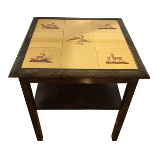 Early 20th Century Vintage Tile Deer Side Table For Sale