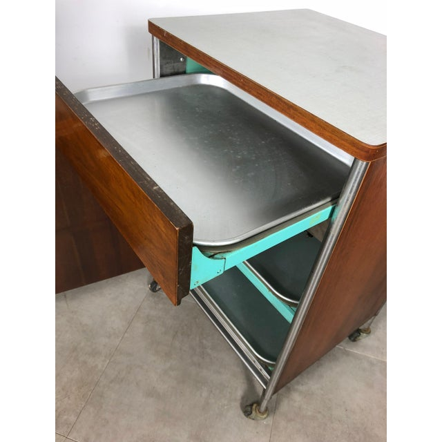 1950s 1950s Raymond Loewy Hill-Rom Walnut & White Laminate Rolling Cabinet For Sale - Image 5 of 10